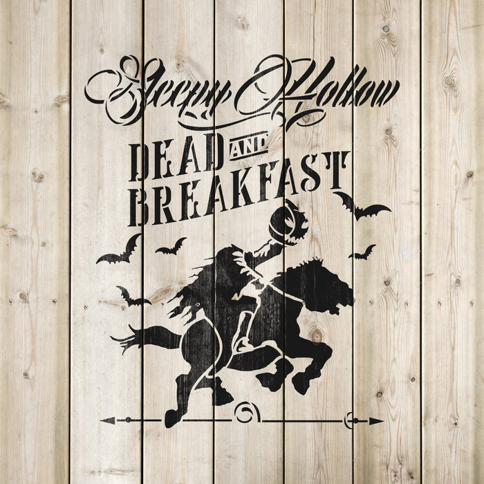 Sleepy Hollow Bed Breakfast Halloween Stencil