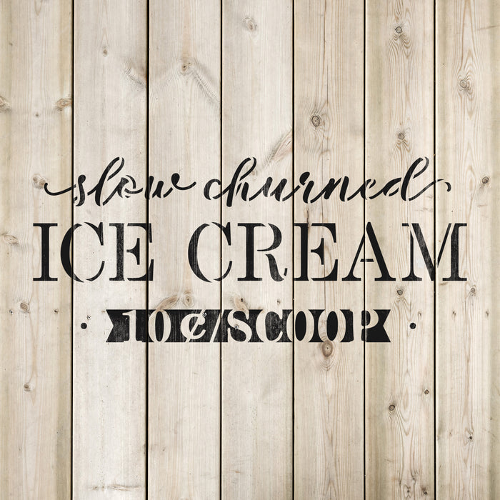 Slow Churned Ice Cream Stencil