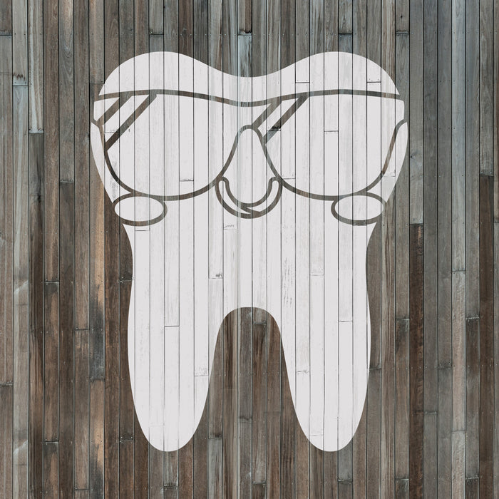 Tooth with Sunglasses Stencil