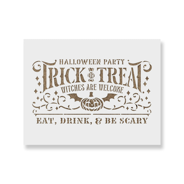 Trick Or Treat Halloween Party Stencil