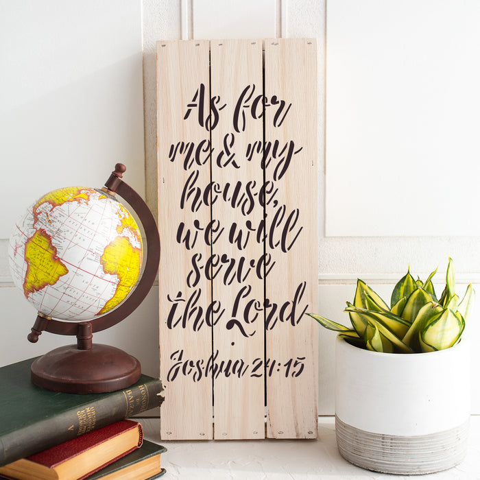 We Will Serve The Lord Bible Verse Stencil