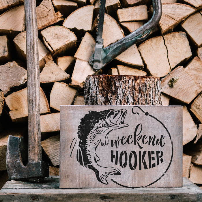 Weekend Hooker Bass Fishing Stencil