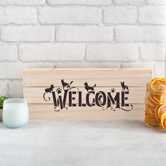 Welcome Dog Sign Stencil