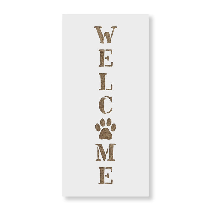 Welcome Paw Print Vertical Sign Stencil