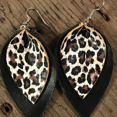 Double Layer  Leather  Earrings Animal Print