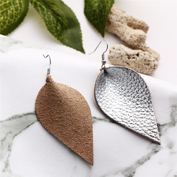 Gold Color Leaves Leather Earring