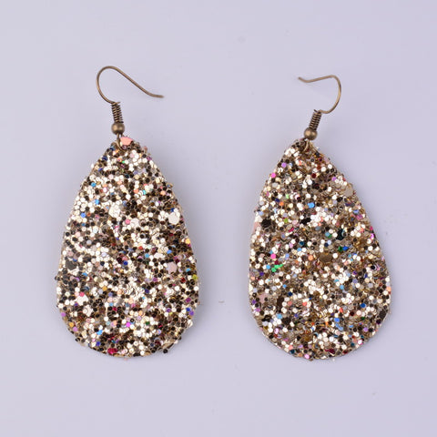 Glitter Leather Teardrop Earring