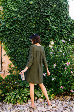 Autumn Embroidered Shirt Dress