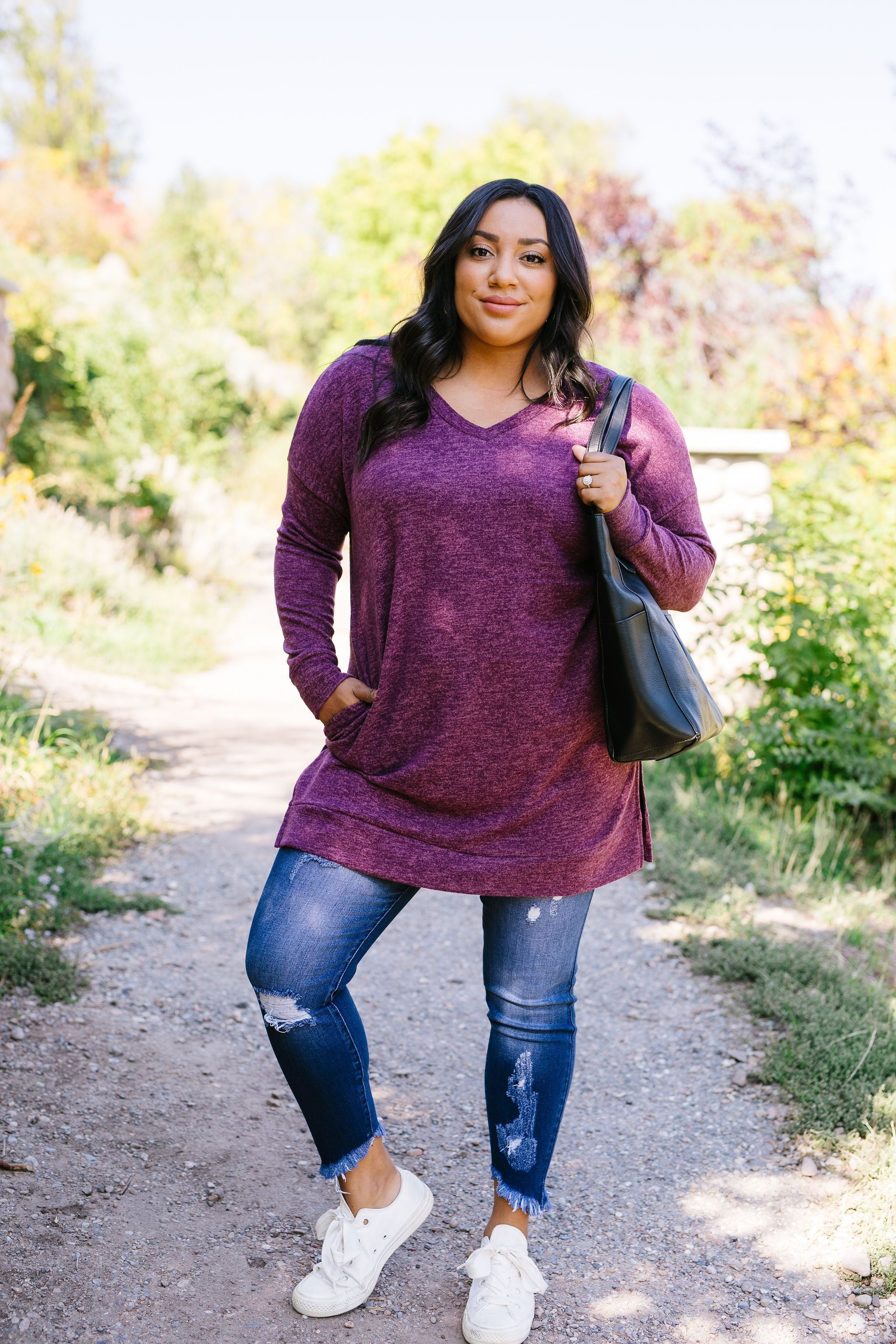 Brushed Melange V-Neck Sweater
