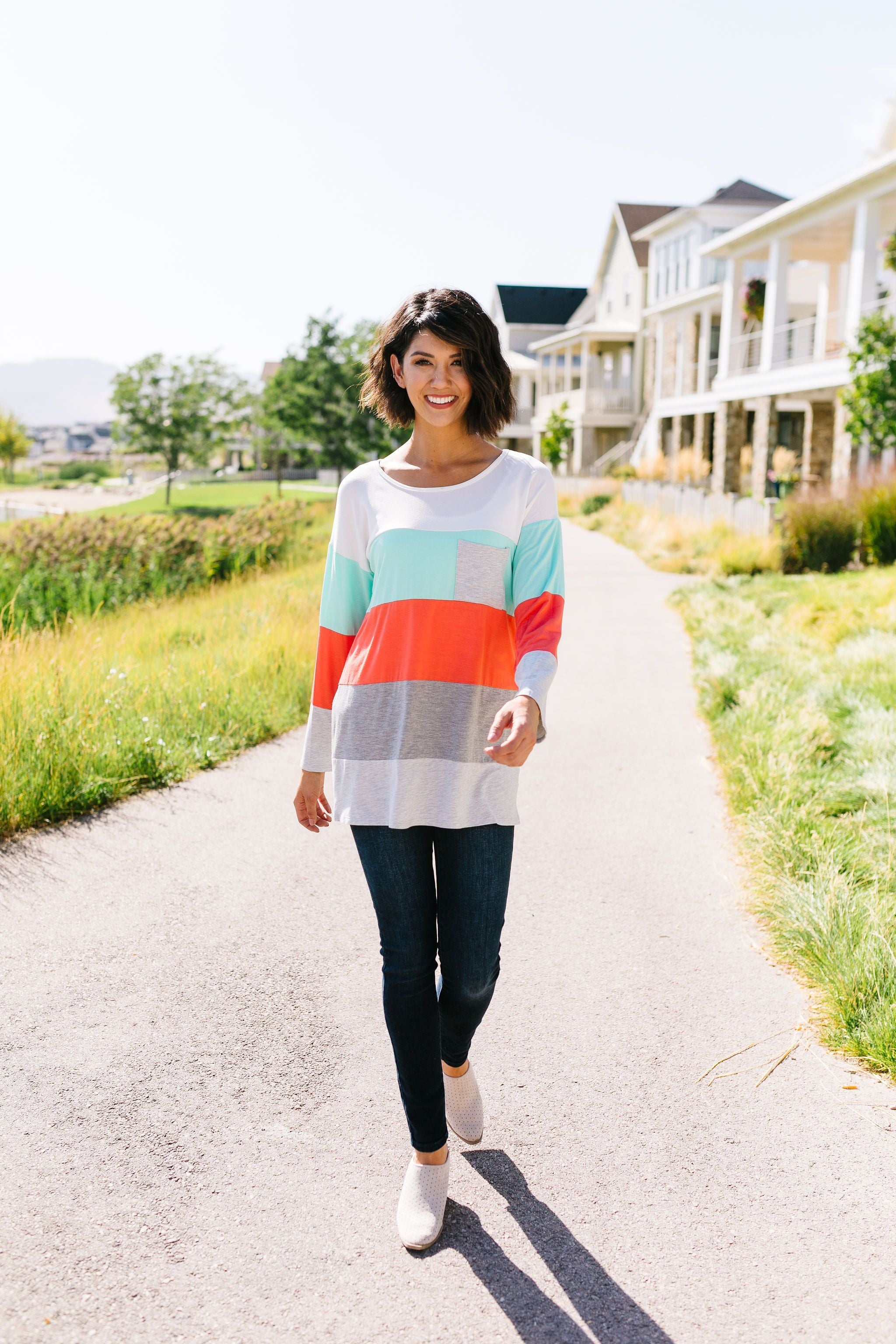 Coral + Mint Color Block Top