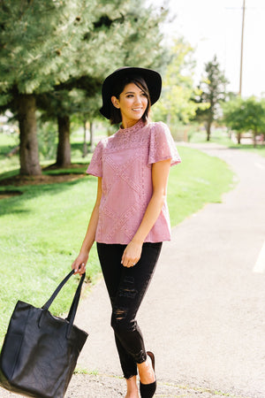 Diamonds + Lace Mock Neck Blouse