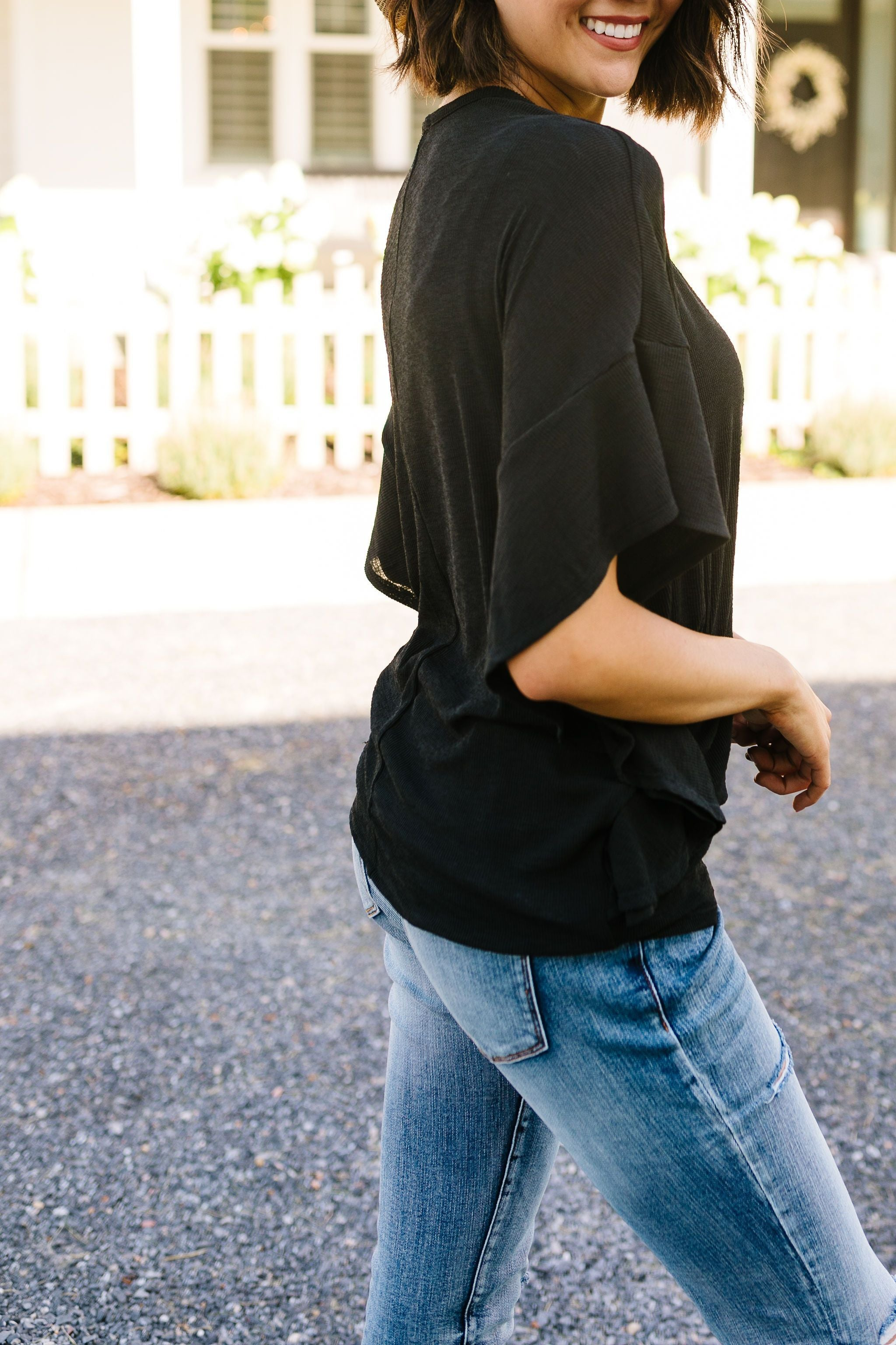 Elegantly Ruffled Sleeve Blouse