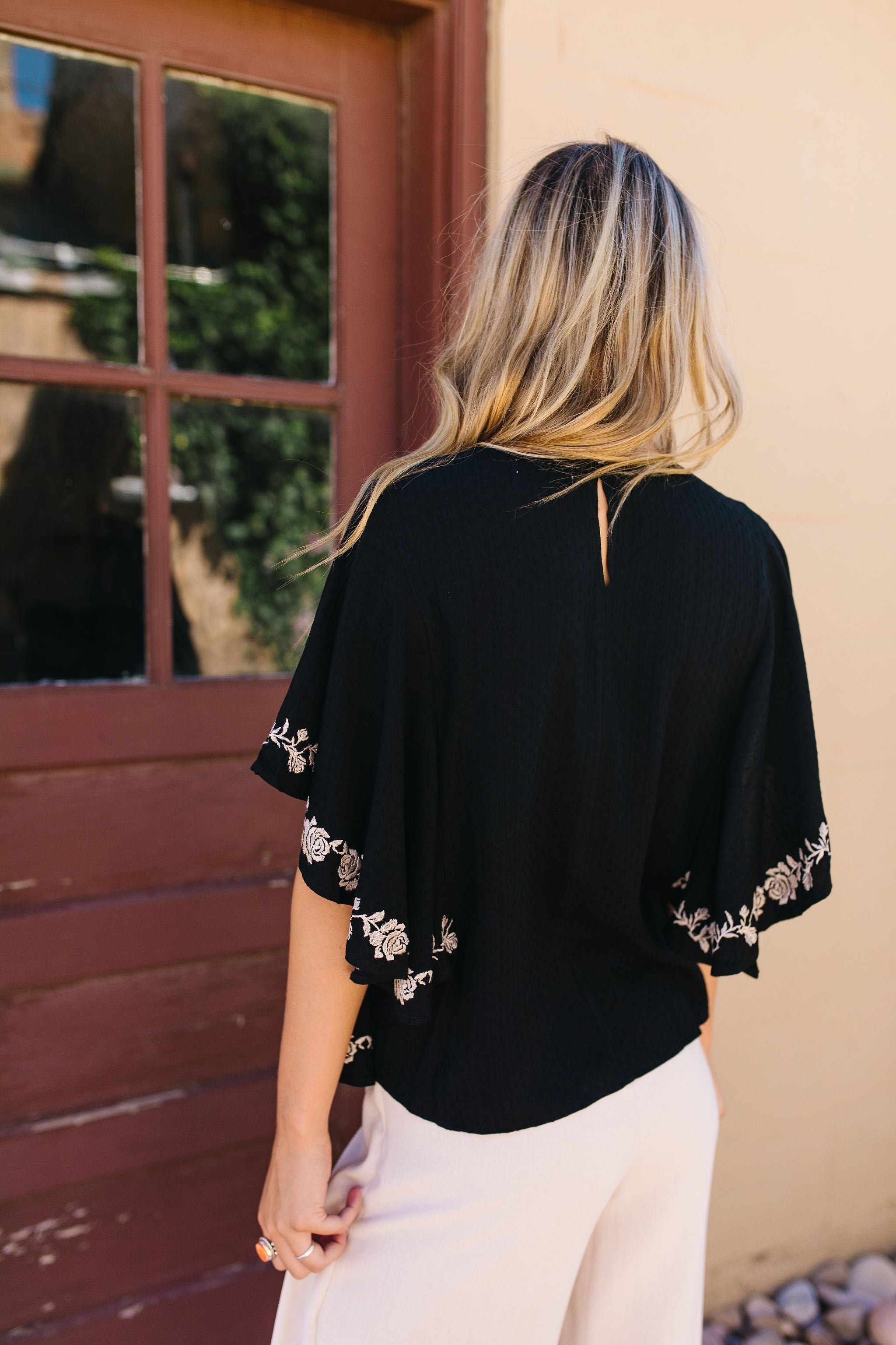 Falling Sleeves Embroidered Blouse