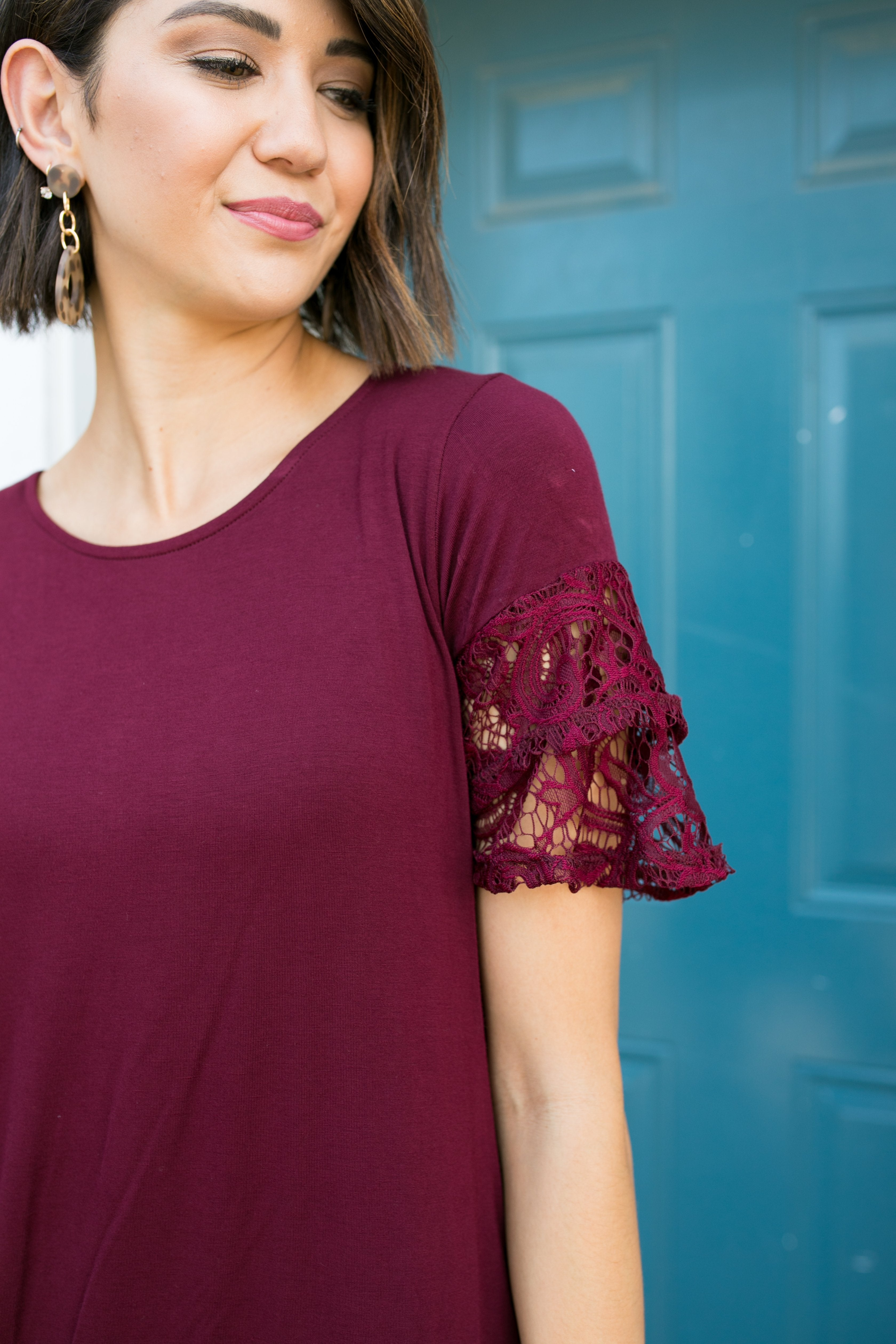 Luxe Knit Lace Ruffled Sleeve Blouse