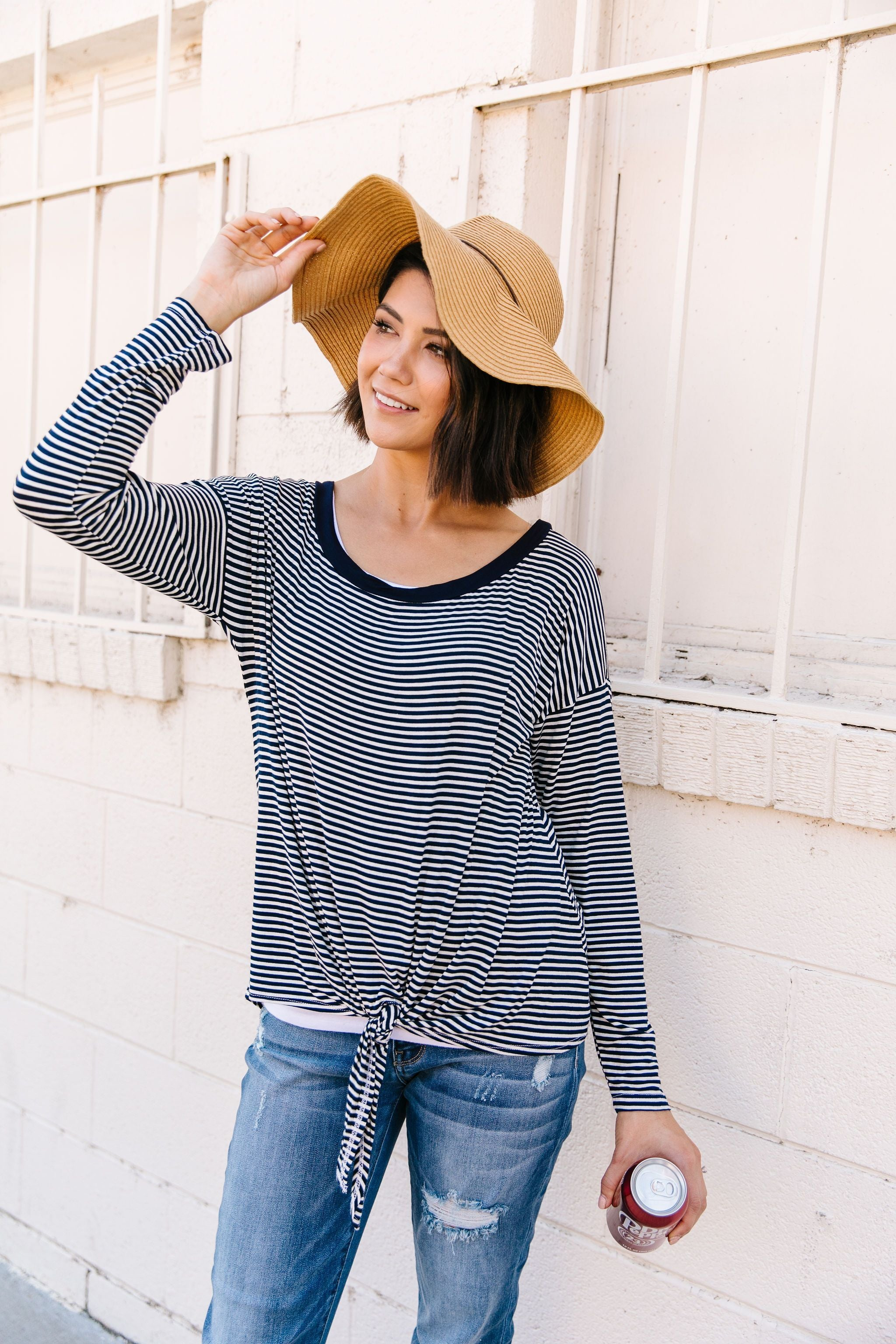 Stephanie Striped Tie-Front Top
