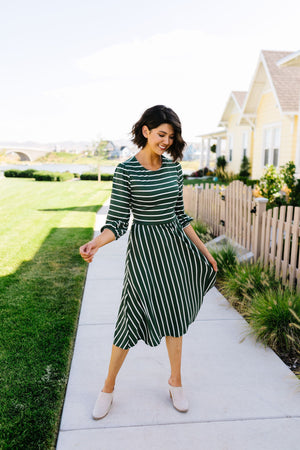 Tread Softly Striped Midi Dress