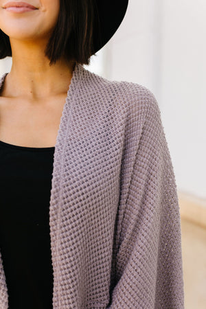 Waffle Knit Slouchy Cardi In Taupe