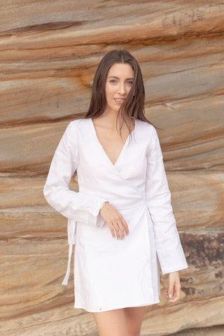 White Linen Wrap Dress