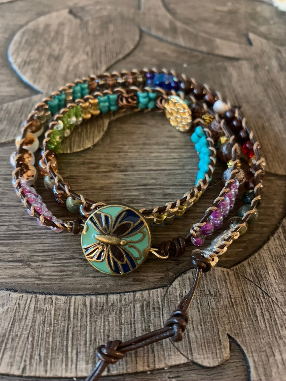 Featured Piece: Boho Spendid Triple Wrap Leather Banded Beaded Bracelet