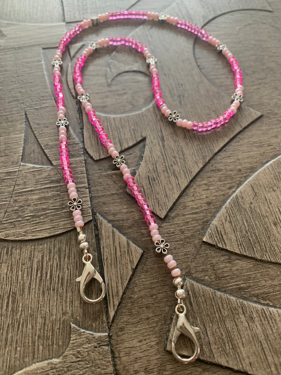 Pink with Plumerias Mask Leash 24
