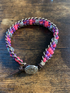 #143 Pink and Purple Leather Banded Beaded Bracelet