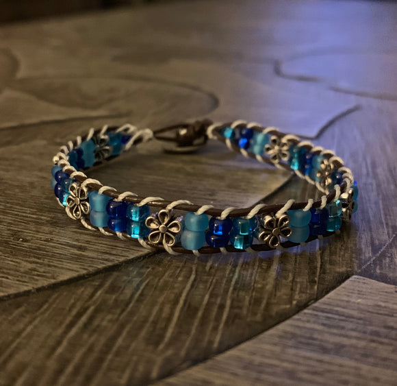 Blue Ocean Leather Banded Beaded Bracelet