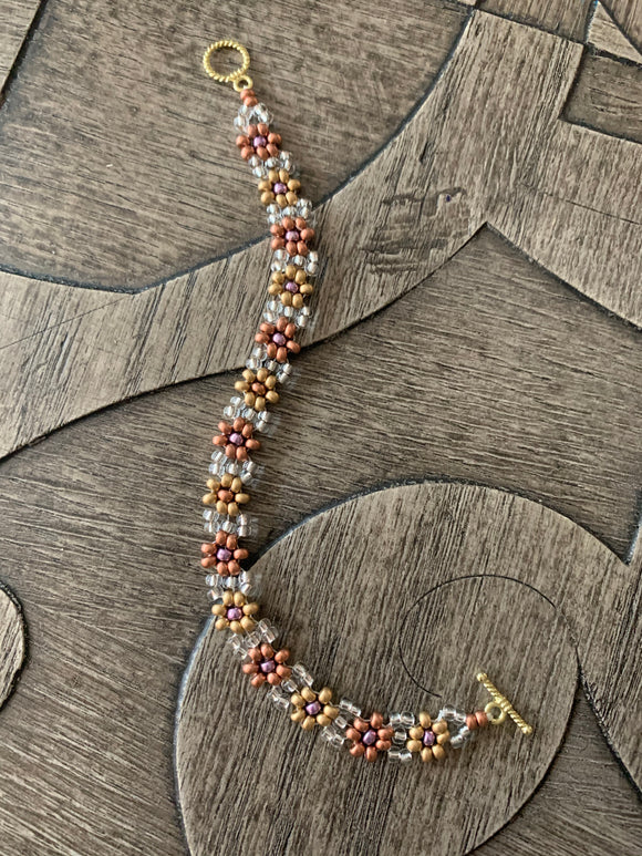 Golden Leaves of Fall Beaded Bracelet