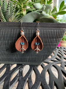 Flying higher leather earrings