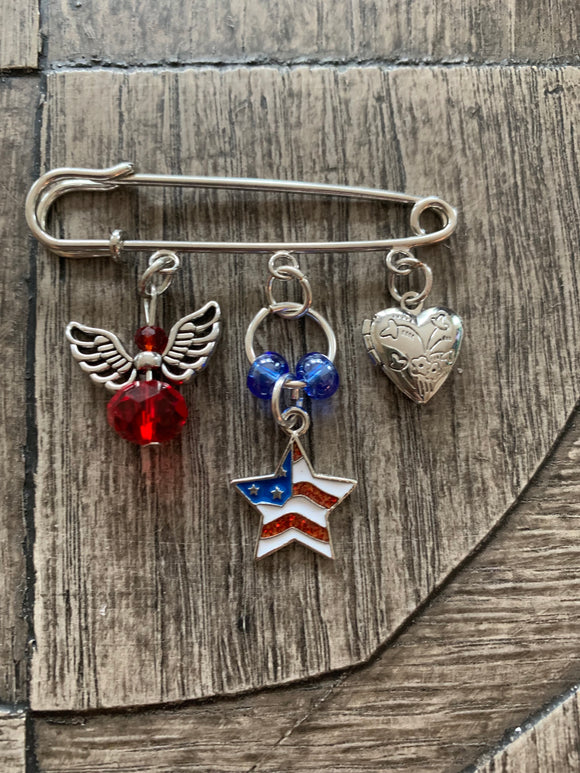 God Bless the USA Brooch