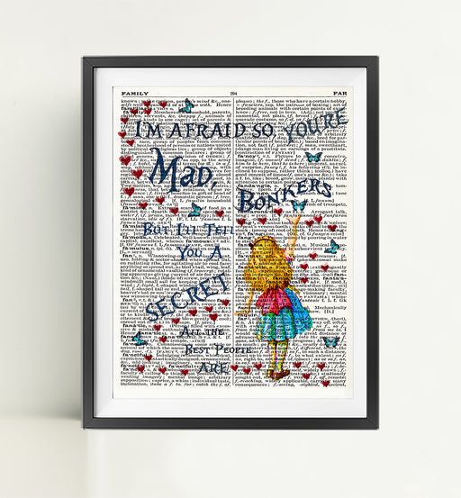 Alice in Wonderland Dictionary Art Print Poster Page Quote | Nursery Art | Vintage Poster | Gift for her | Gift for Mum