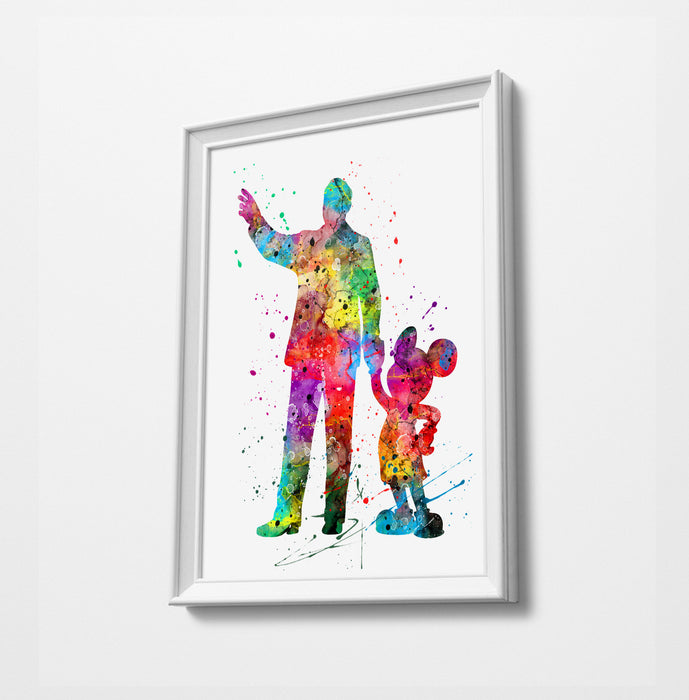 Mickey and Walt | Minimalist Watercolor Art Print Poster Gift Idea For Him Or Her |