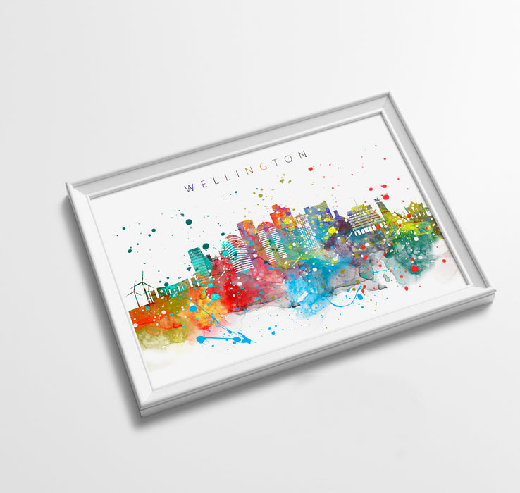 Wellington Skyline Art Print  | Minimalist Watercolor Art Print Poster Gift Idea For Him Or Her | Wall Art | City Skyline | City Prints