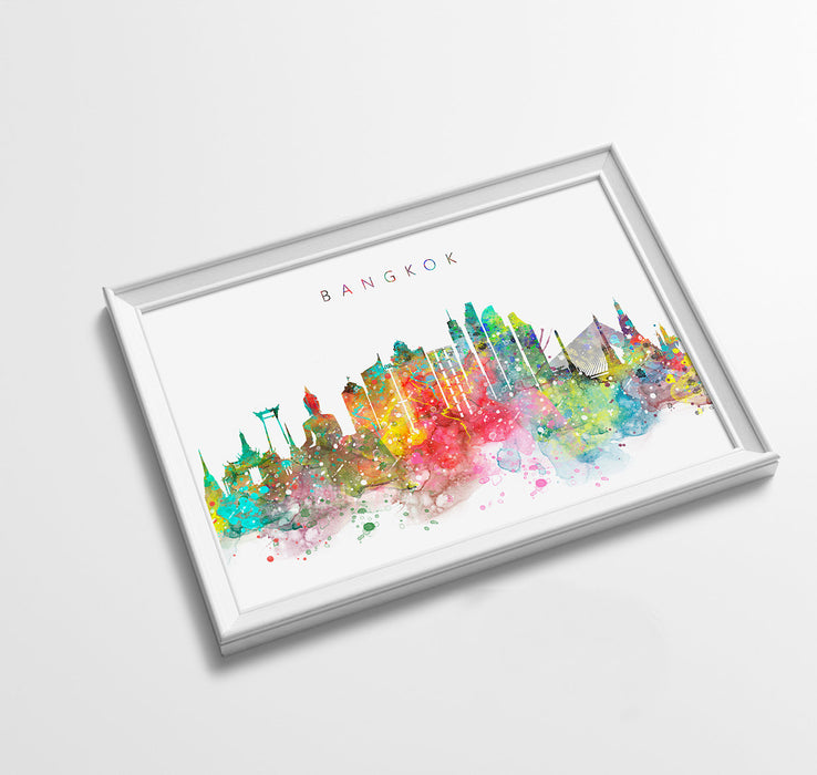 Bangkok Skyline Art Print  | Minimalist Watercolor Art Print Poster Gift Idea For Him Or Her | Wall Art | City Skyline | City Prints