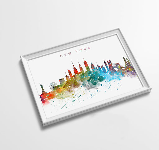 New York Skyline Art Print  | Minimalist Watercolor Art Print Poster Gift Idea For Him Or Her | Wall Art | City Skyline | City Prints