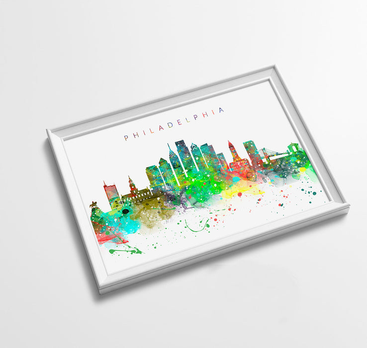 Philadelphia Skyline Art Print  | Minimalist Watercolor Art Print Poster Gift Idea For Him Or Her | Wall Art | City Skyline | City Prints