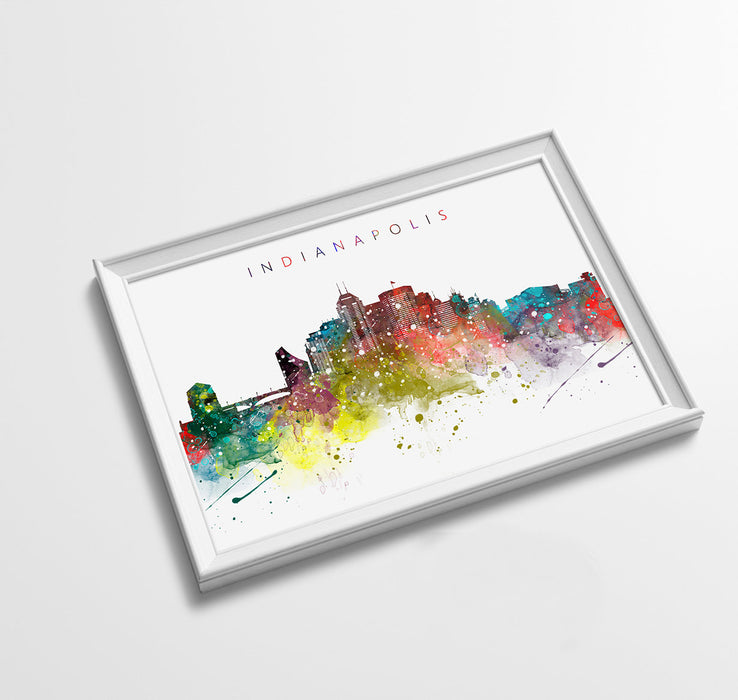 Indianapolis Skyline Art Print  | Minimalist Watercolor Art Print Poster Gift Idea For Him Or Her | Wall Art | City Skyline | City Prints