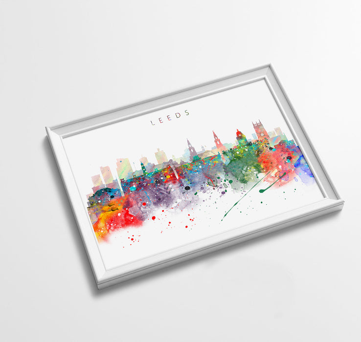 Leeds Skyline Art Print  | Minimalist Watercolor Art Print Poster Gift Idea For Him Or Her | Wall Art | City Skyline | City Prints