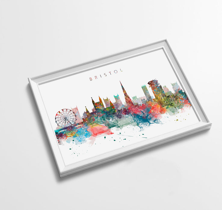 Bristol Skyline Art Print  | Minimalist Watercolor Art Print Poster Gift Idea For Him Or Her | Wall Art | City Skyline | City Prints
