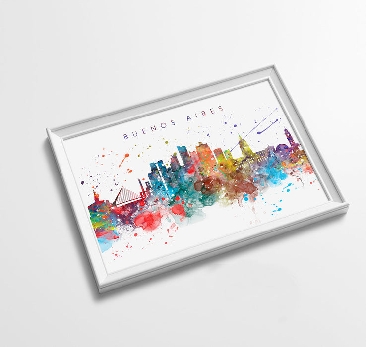 Buenos Aires Skyline Art Print  | Minimalist Watercolor Art Print Poster Gift Idea For Him Or Her | Wall Art | City Skyline | City Prints