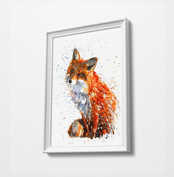 Fox Animal Minimalist Watercolor Art Print Poster Gift Idea For Him Or Her Music Poster