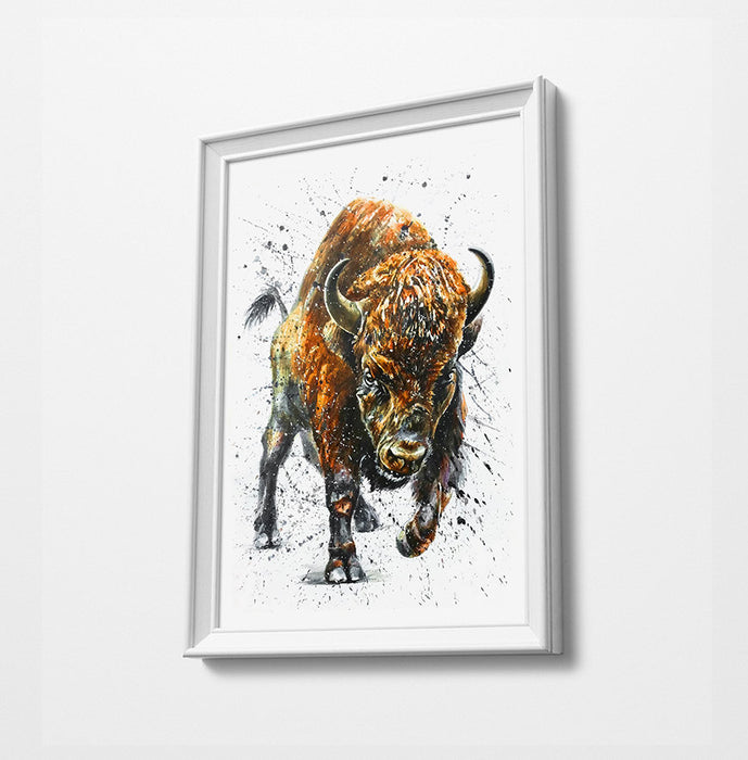Bull Animal Minimalist Watercolor Art Print Poster Gift Idea For Him Or Her Music Poster