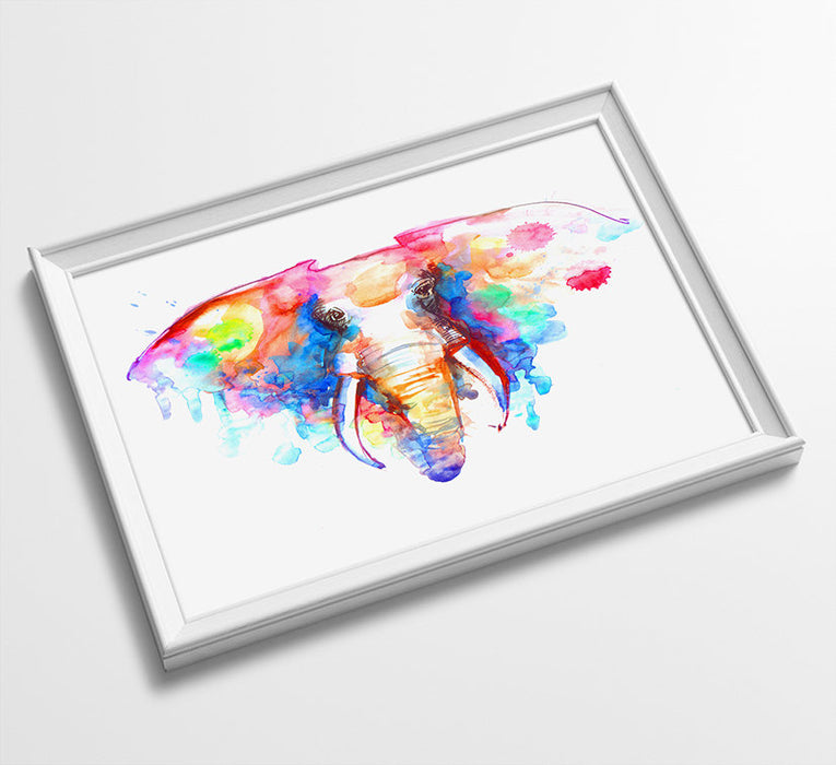 ELEPHANT Animal Minimalist Watercolor Art Print Poster Gift Idea For Him Or Her Music Poster