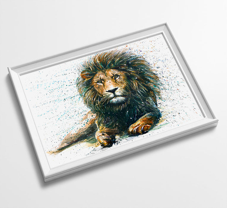 LION Animal Minimalist Watercolor Art Print Poster Gift Idea For Him Or Her Music Poster