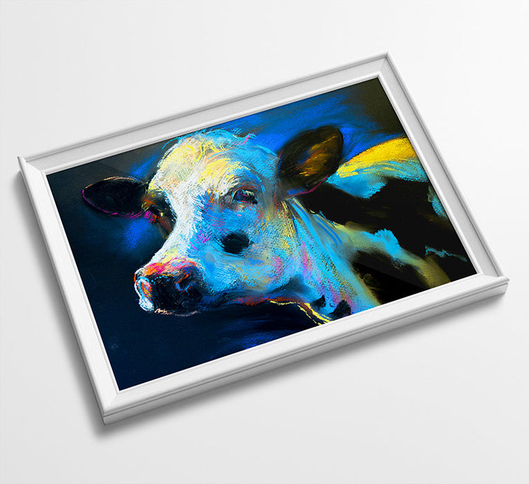 Cow Animal Minimalist Watercolor Art Print Poster Gift Idea For Him Or Her Music Poster