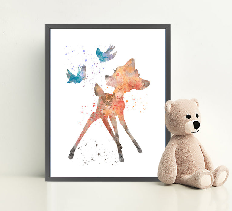 Bambi Print | Minimalist Watercolor Art Print Poster Gift Idea For Him Or Her | Nursery Art |