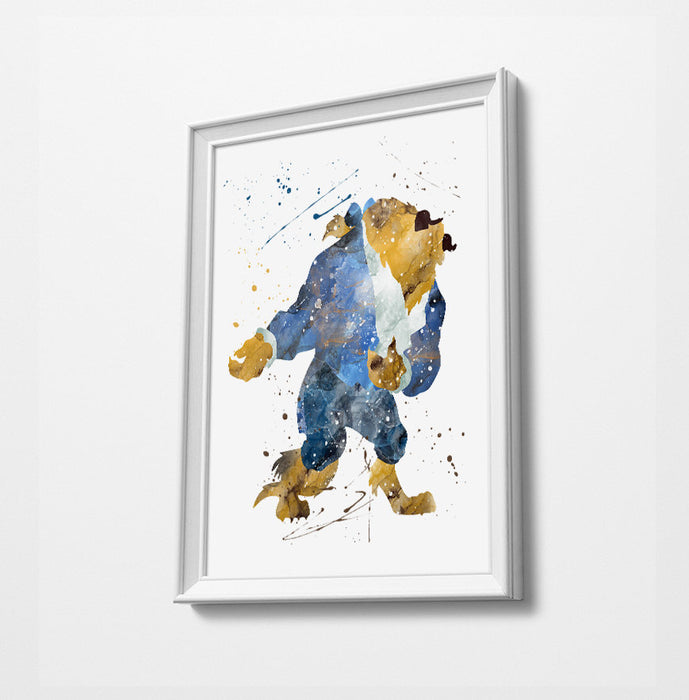 Beast | Minimalist Watercolor Art Print Poster Gift Idea For Him Or Her | Nursery Art | Beauty and the Beast Print art