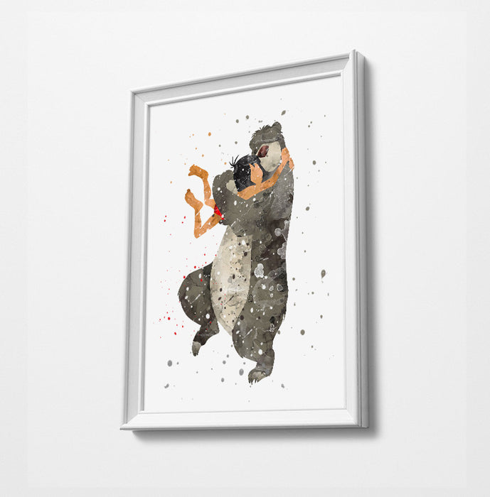 Mowgli & Baloo | Minimalist Watercolor Art Print Poster Gift Idea For Him Or Her | Disney Prints