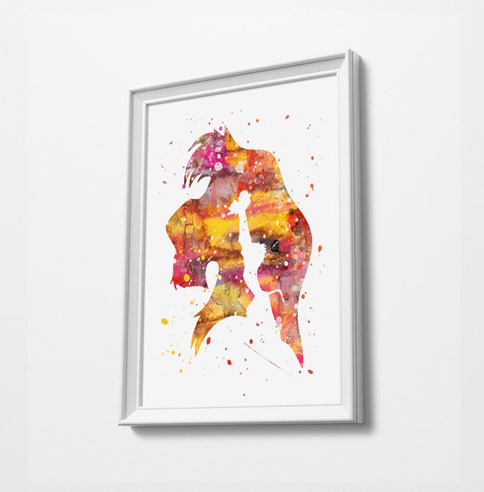 Lion King | Minimalist Watercolor Art Print Poster Gift Idea For Him Or Her | Nursery Art | Gift for Baby |