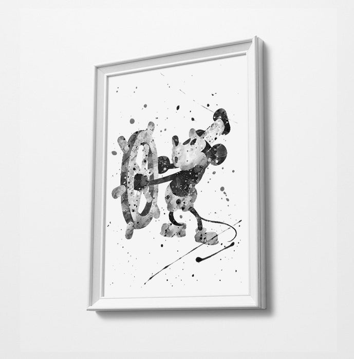 Classic Mickey | Minimalist Watercolor Art Print Poster Gift Idea For Him Or Her | Nursery Art | Gift for Baby |