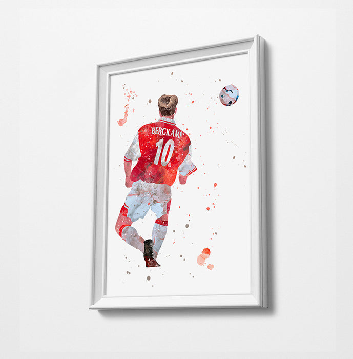 Dennis Bergkamp | Minimalist Watercolor Art Print Poster Gift Idea For Him Or Her | Football | Soccer